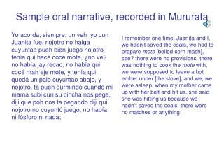 Sample oral narrative, recorded in Mururata