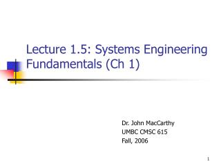 Lecture 1.5: Systems Engineering Fundamentals (Ch 1)