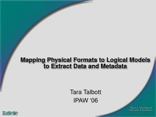 Mapping Physical Formats to Logical Models to Extract Data and Metadata