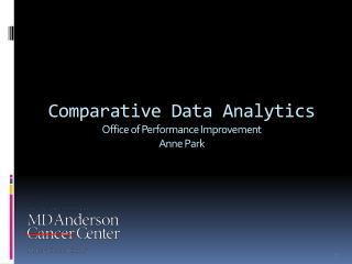 Comparative Data Analytics Office of Performance  Improvement Anne Park