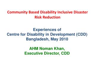Community Based Disability Inclusive Disaster Risk Reduction