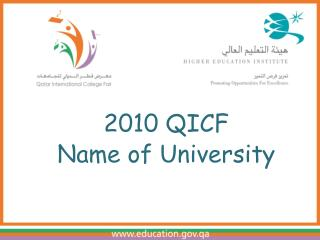 2010 QICF Name of University