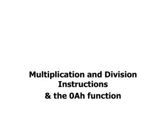 Multiplication and Division Instructions & the 0Ah function