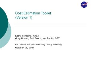 Cost Estimation Toolkit (Version 1)