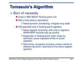 Tomasulo's Algorithm