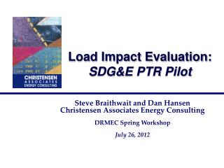 Load Impact Evaluation: SDG&E PTR Pilot