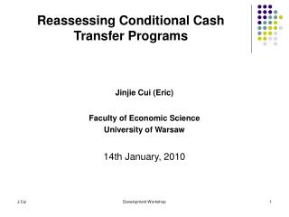 Reassessing Conditional Cash Transfer Programs