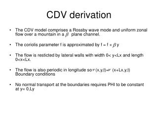 CDV derivation