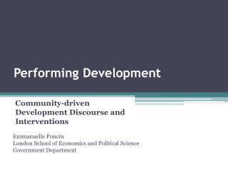 Performing Development