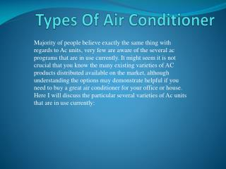 Types of Air conditioner