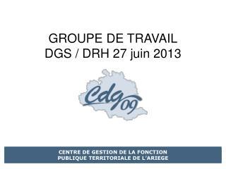 GROUPE DE TRAVAIL DGS / DRH 27 juin 2013