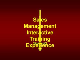 Sales Management Interactive Training Experience