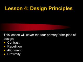 Lesson 4: Design Principles
