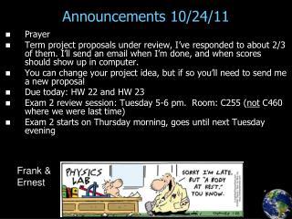 Announcements 10/24/11