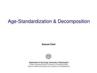 Age-Standardization & Decomposition