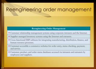 Reengineering order management