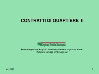CONTRATTI DI QUARTIERE  II
