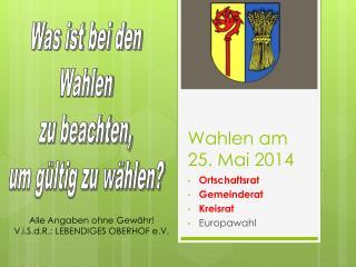 Wahlen am 25. Mai 2014