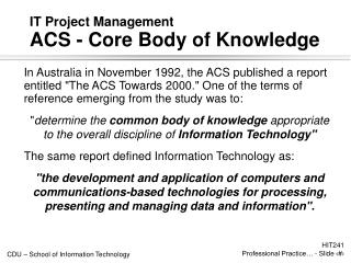 IT Project Management  ACS - Core Body of Knowledge