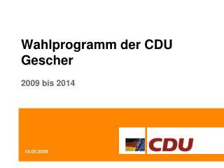 Wahlprogramm der CDU Gescher 2009 bis 2014