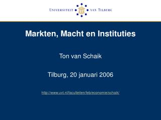 Markten, Macht en Instituties
