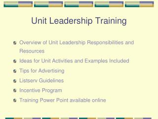 Unit Leadership Training