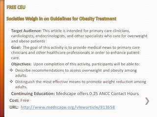 FREE CEU Societies Weigh in on Guidelines for Obesity Treatment