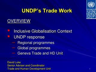 UNDP's Trade Work