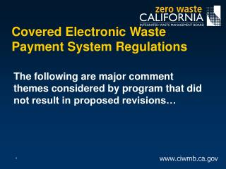 Covered Electronic Waste Payment System Regulations