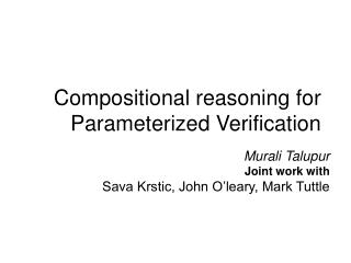 Compositional reasoning for Parameterized Verification