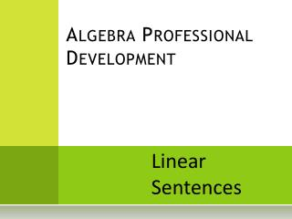Algebra Professional Development