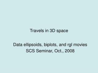 Travels in 3D space