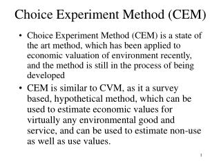 Choice Experiment Method (CEM)