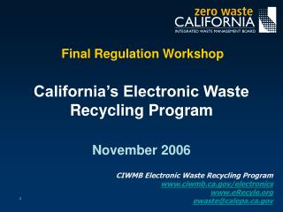 Final Regulation Workshop