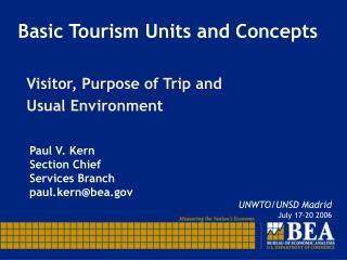 Basic Tourism Units and Concepts