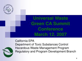 California EPA Department of Toxic Substances Control Hazardous Waste Management Program