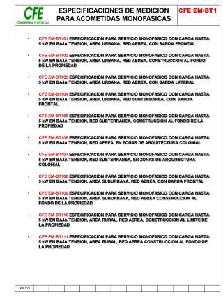 ESPECIFICACIONES DE MEDICION PARA ACOMETIDAS MONOFASICAS