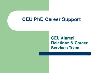 CEU PhD Career Support