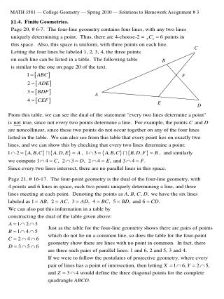 MATH 3581 — College Geometry — Spring 2010 — Solutions to Homework Assignment # 3