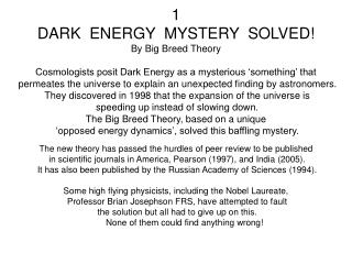 1 DARK  ENERGY  MYSTERY  SOLVED! By Big Breed Theory