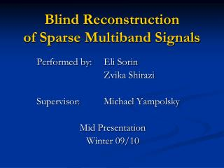 Blind Reconstruction of Sparse Multiband Signals