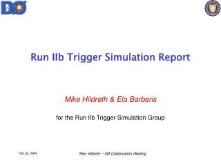 Run IIb Trigger Simulation Report