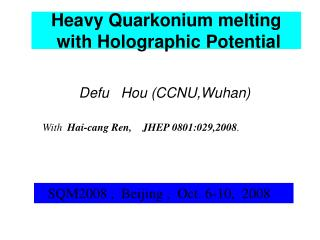Heavy Quarkonium melting  with Holographic Potential