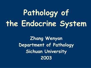 Pathology of  the Endocrine System Zhang Wenyan  Department of Pathology Sichuan University 2003