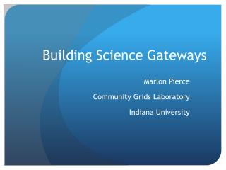 Building Science Gateways