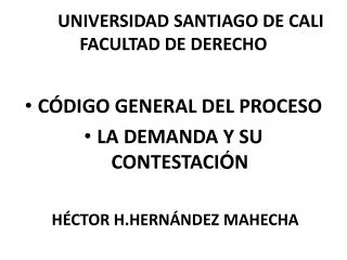 UNIVERSIDAD SANTIAGO DE CALI FACULTAD DE DERECHO