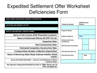 Expedited Settlement Offer Worksheet  Deficiencies Form