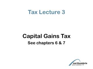 Tax Lecture 3