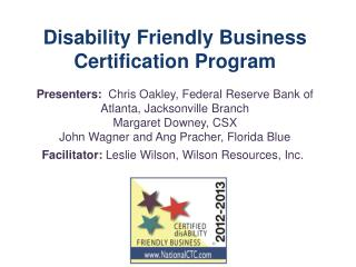 Disability Friendly Business Certification Program