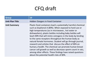 CFQ draft